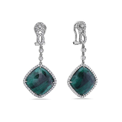 18K White Gold Ladies Earrings With 1.42 CTW Diamonds and Emerald: 17.16 CTW