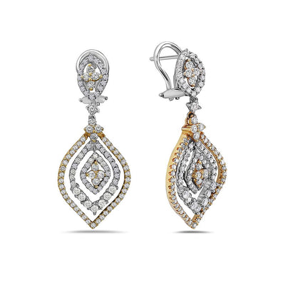 18K White Gold Ladies Earrings With 2.59 CT Diamonds
