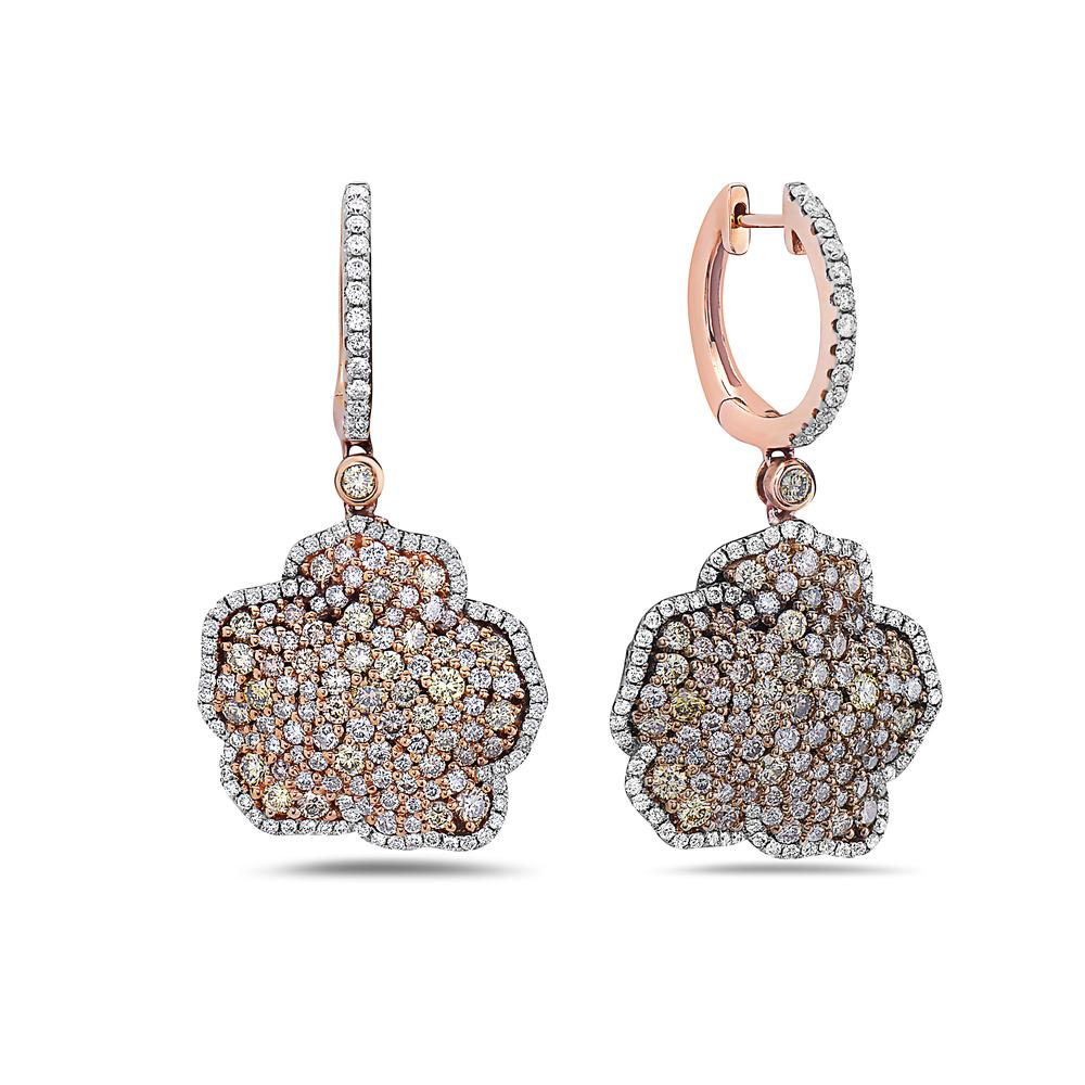 18K Rose Gold Ladies Earrings With 9.40 CT Diamonds