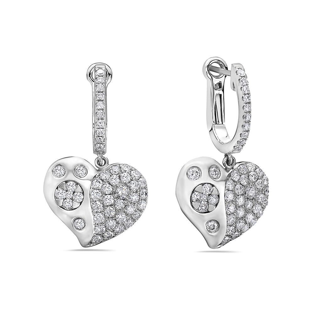 18K White Gold Ladies Earrings With 1.75 CT Diamonds