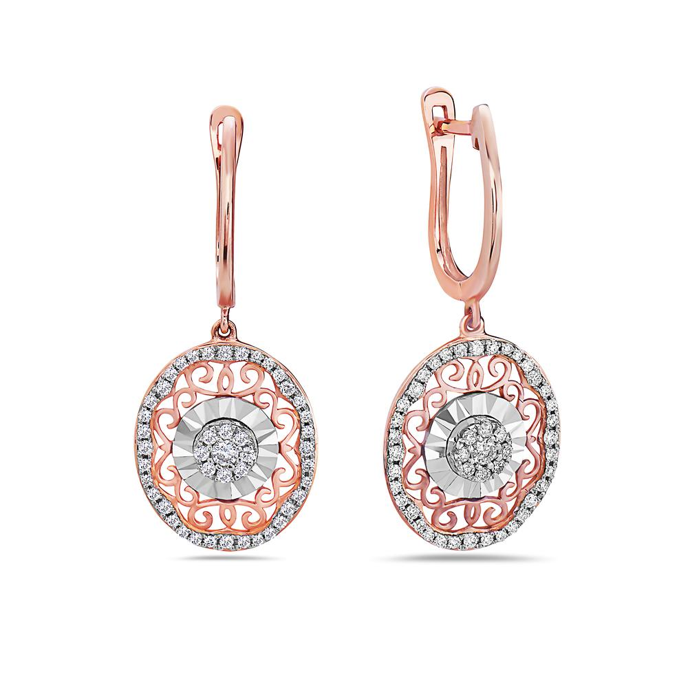 18K Rose Gold Ladies Earrings With 0.44 CT Diamonds