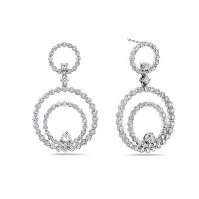 18K White Gold Ladies Earrings With 2.78 CT Diamonds