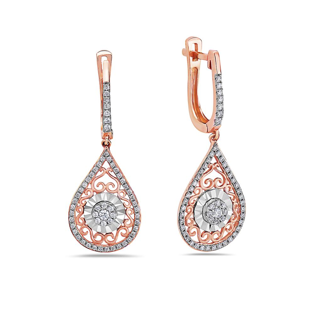 18K Rose Gold Ladies Earrings With 0.54 CT Diamonds