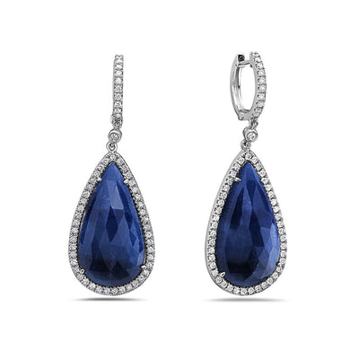 18K White Gold Ladies Earrings With White: 1.22 CTW Sapphire: 30.49 CTW Diamonds