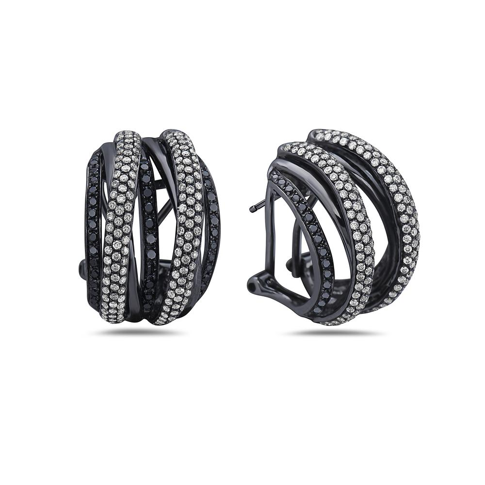 18K Black Gold Ladies Earrings  Diamonds