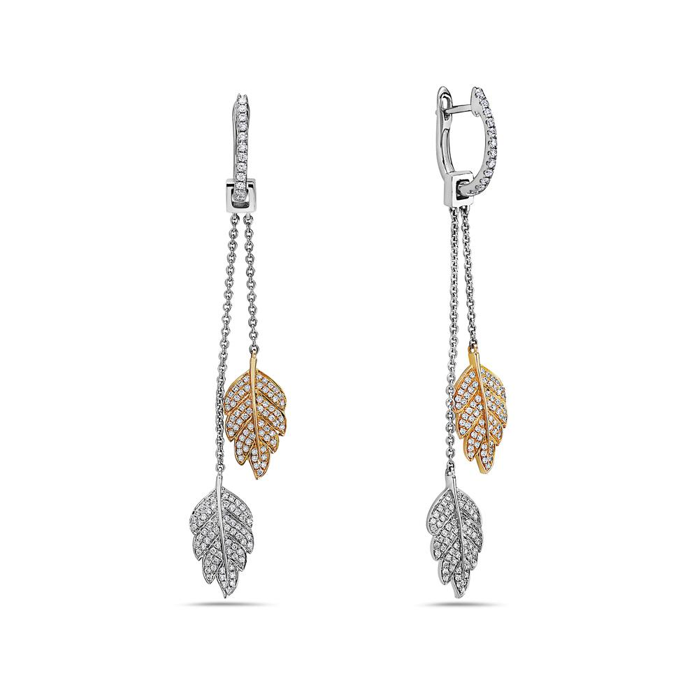 18K Yellow Gold Ladies Earrings With 0.81 CT Diamonds