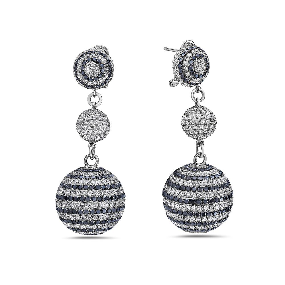18K White Gold Ladies Sphere Shaped Earrings With Diamonds