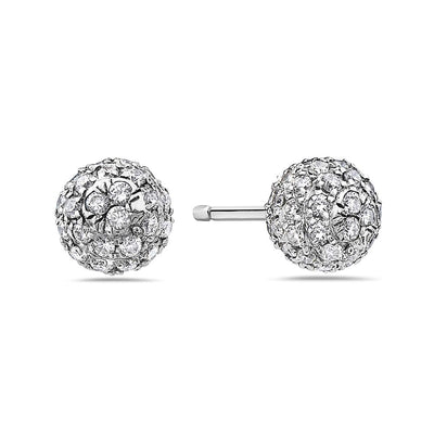 14K White Gold Ladies Earrings With Diamonds