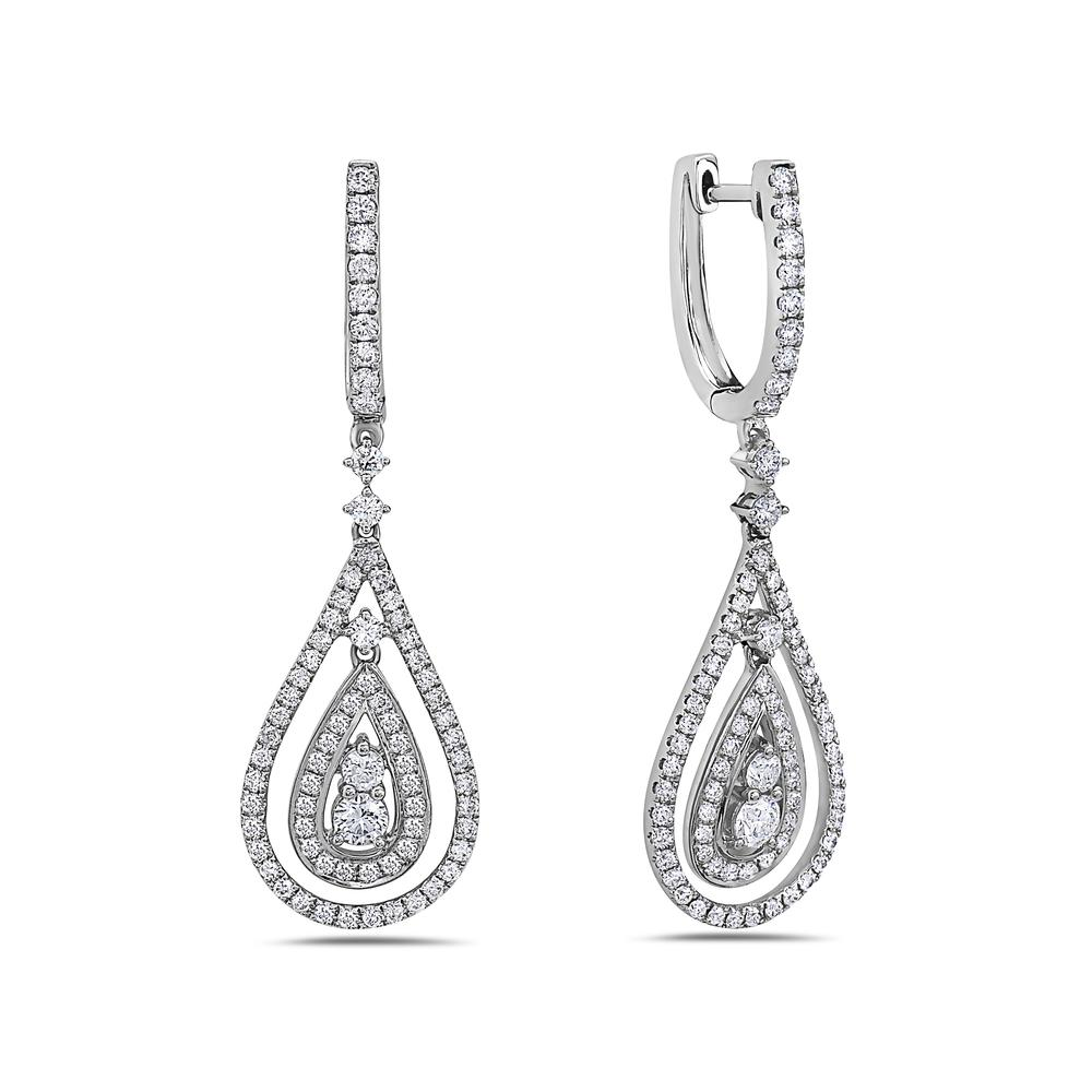 18K White Gold Ladies Earrings With White: 1.72 CTW Diamonds