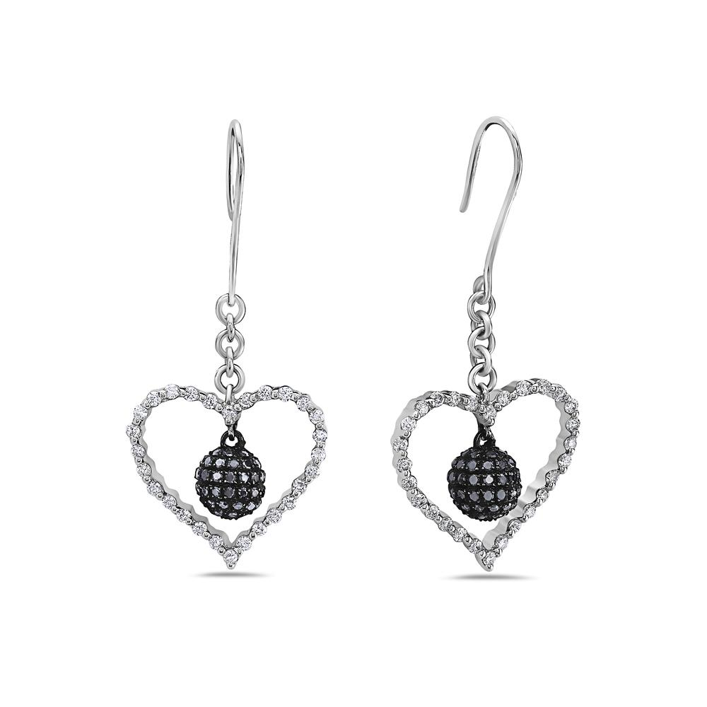 14K White Gold Ladies Heart Shaped Earrings With White And Black Diamonds