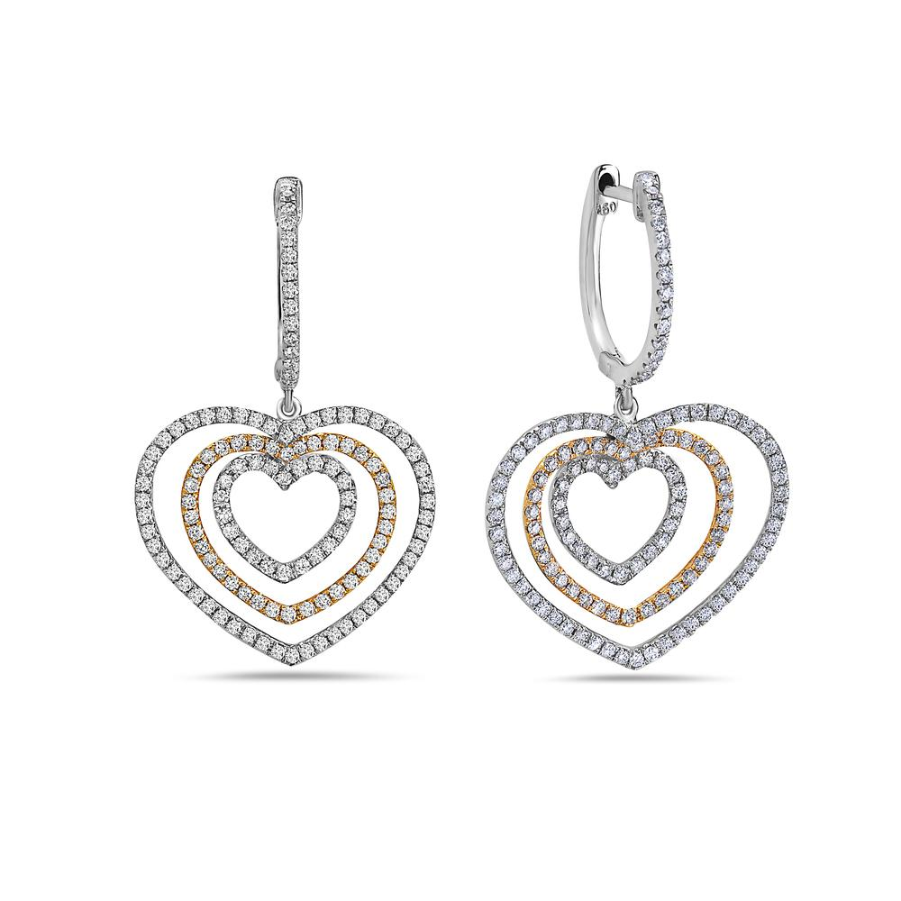 18K White Gold Ladies Heart Shaped  Earrings With White Diamonds