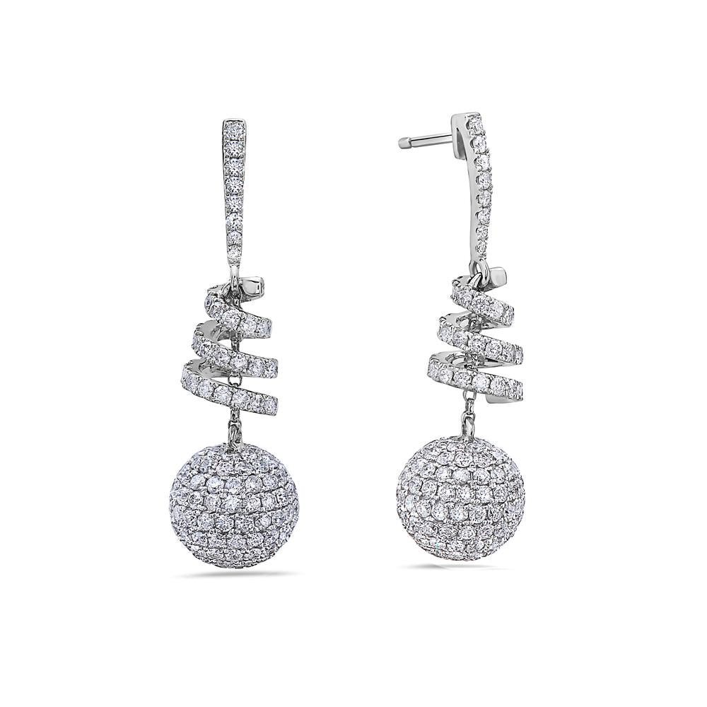 18K White Gold Ladies Earrings With 3.70 CT Diamonds