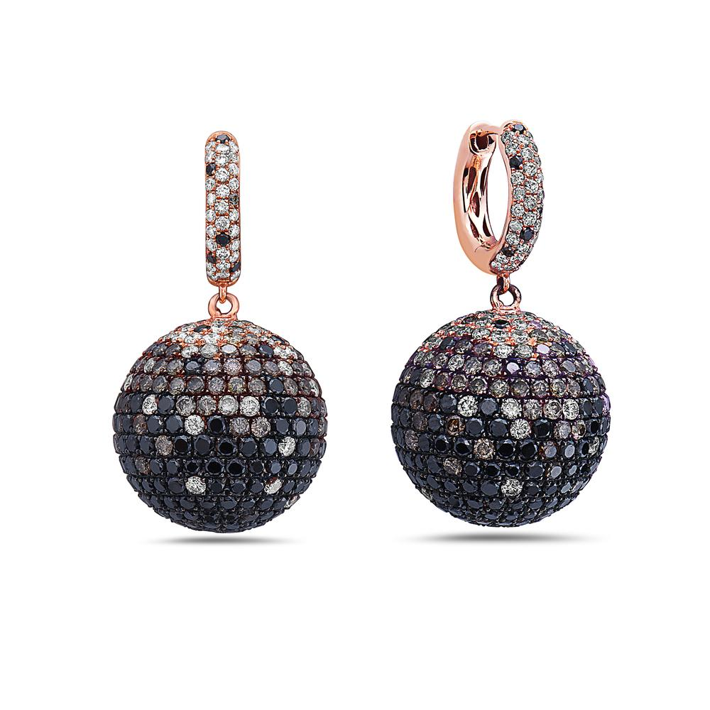 18K Rose Gold Sphere Ladies Earrings With Diamonds