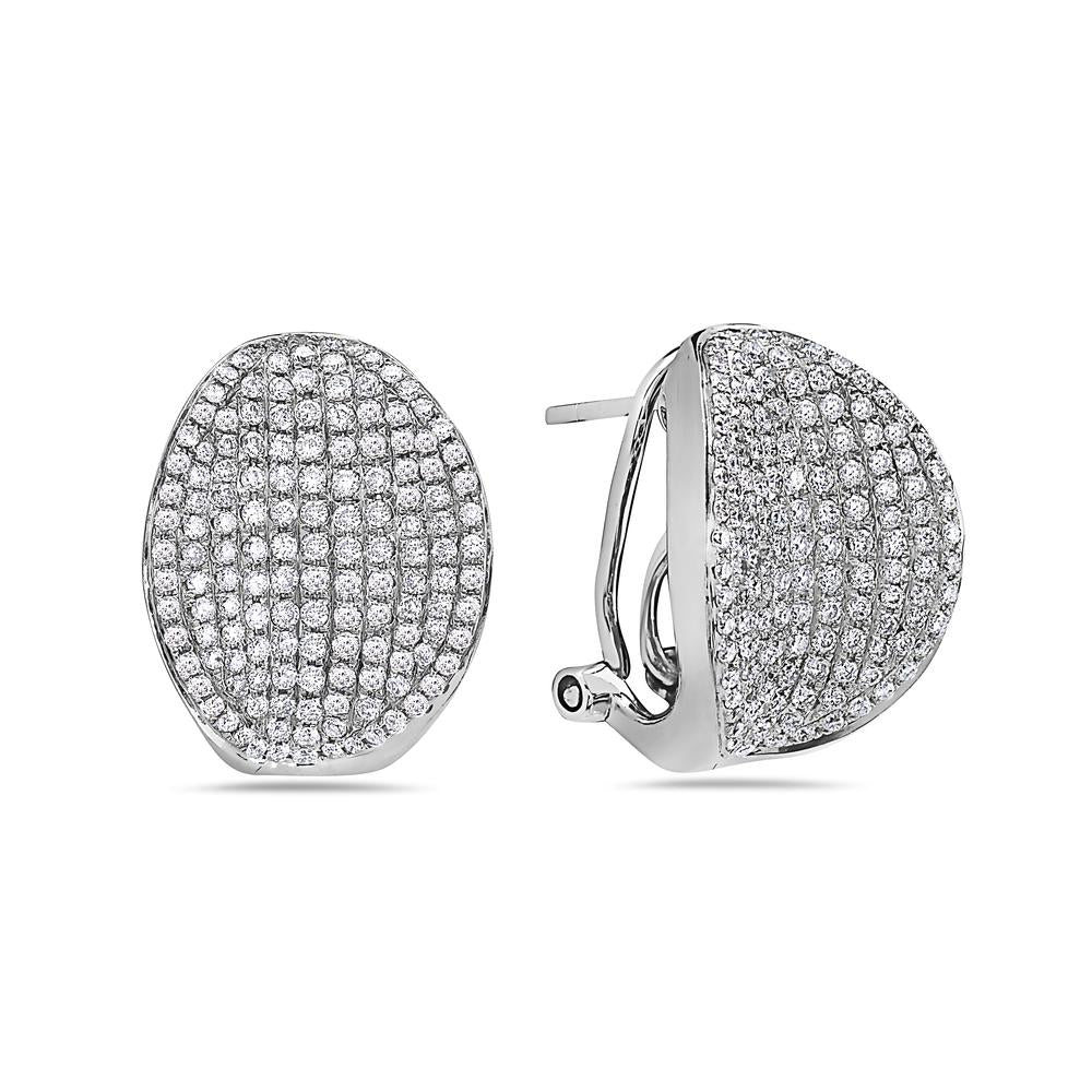 18K White Gold Ladies Earrings With 1.68 CT Diamonds
