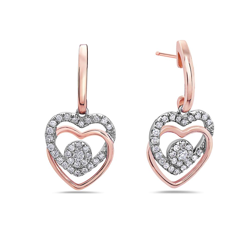 18K Rose Gold Ladies Earrings With 0.43 CT Diamonds