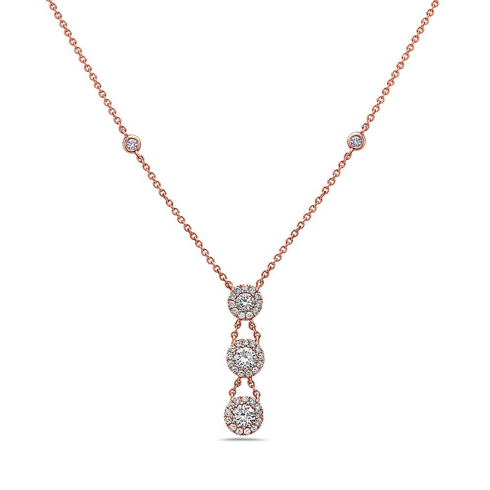 18K Rose Gold Women's Necklace With 1.10 CT Diamonds