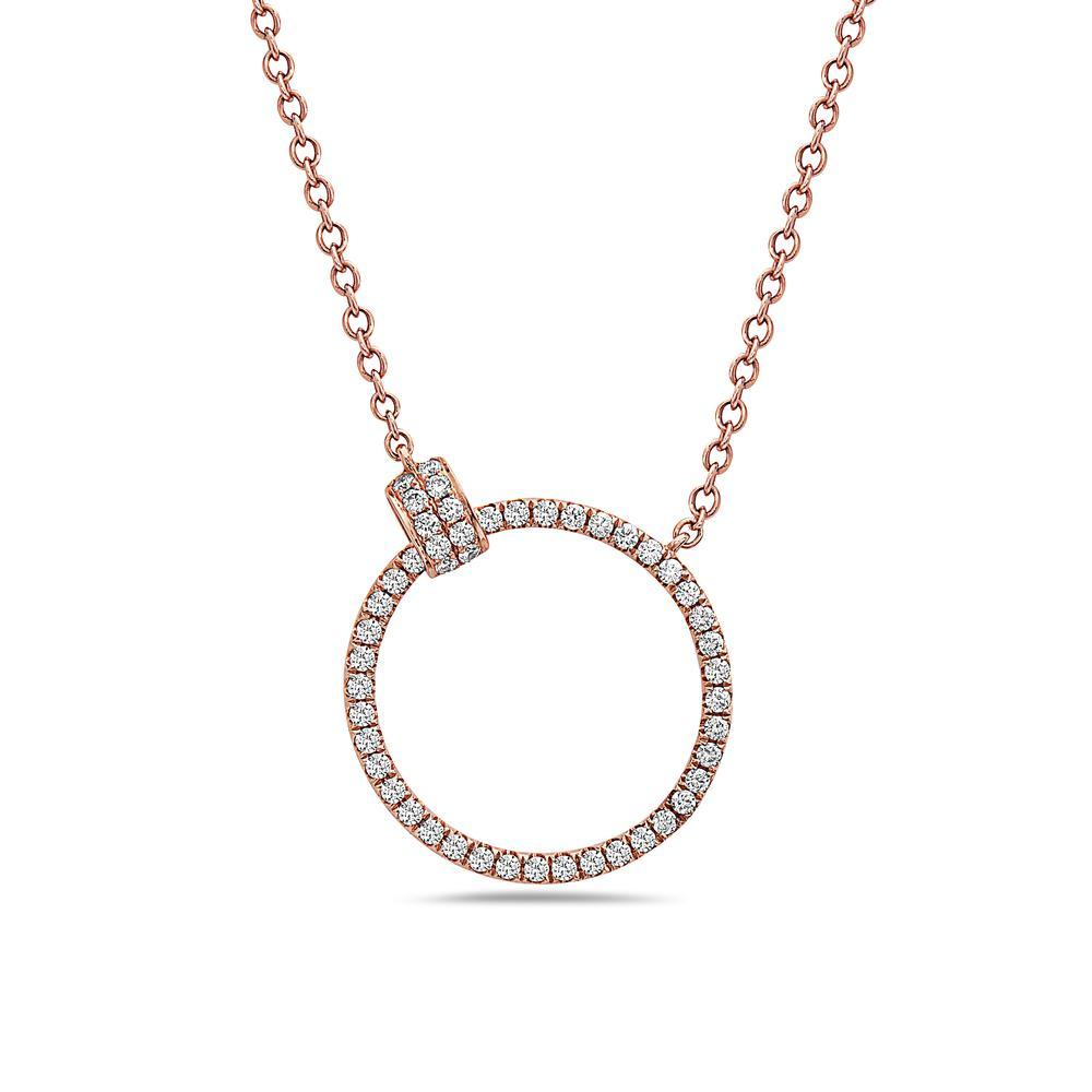 18K Rose Gold Women's Necklace With 0.48 CT Diamonds