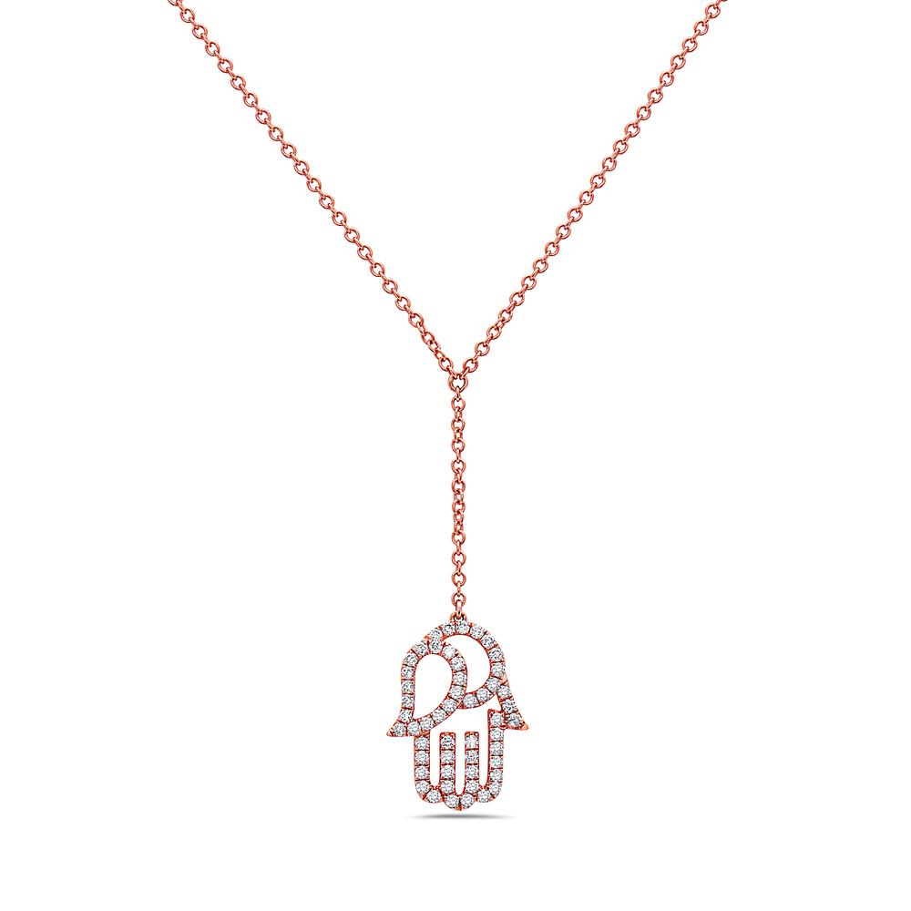 "18K Rose Gold ""Hamsa"" Women's Necklace With 0.65 CT Diamonds"