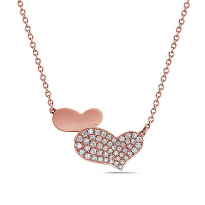 18K Rose Gold Hearts Pendant Women's Necklace With 0.53 CT Diamonds