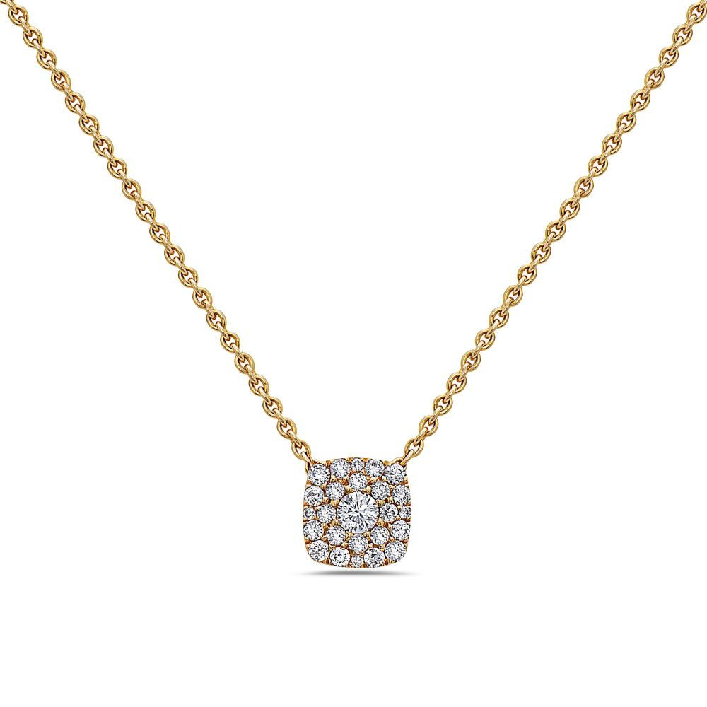18K Yellow Gold Small Square Women's Necklace With 0.27 CT Diamonds