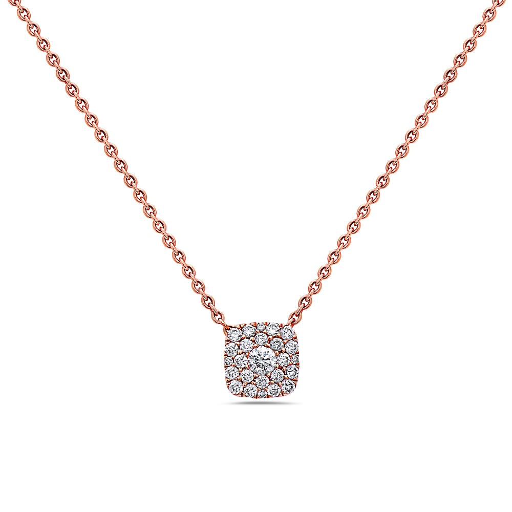 18K Rose Gold Small Square Women's Necklace With 0.27 CT Diamonds