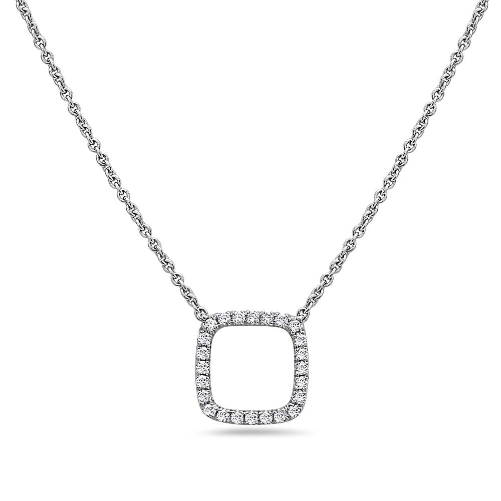 18K White Gold Square-Shaped Floating Women's Necklace With 0.18 CT Diamonds
