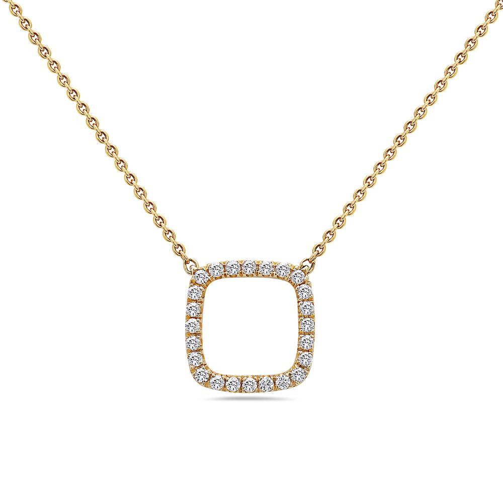 18K Yellow Gold Square-Shaped Floating Women's Necklace With 0.19 CT Diamonds