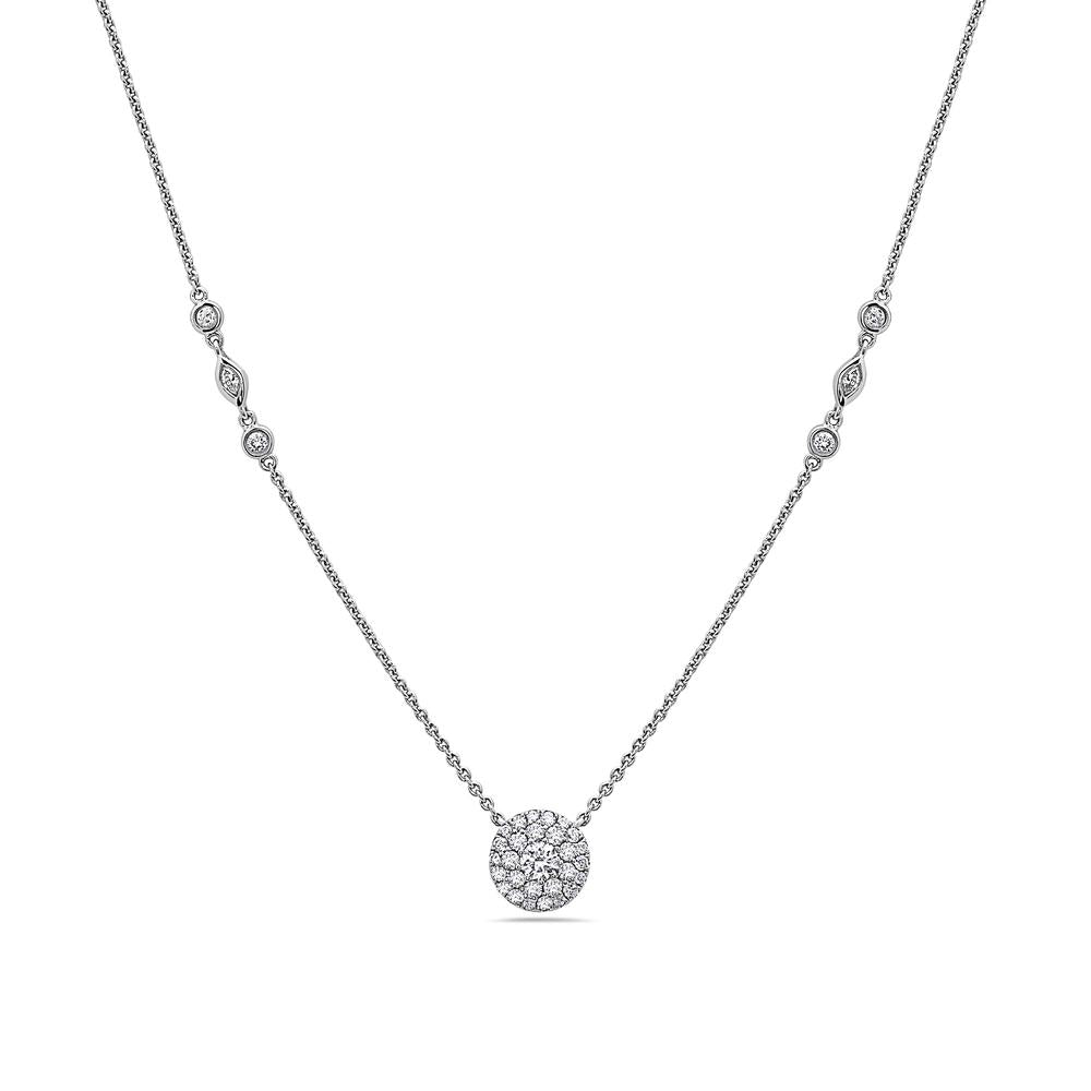 18K White Gold Disk Women's Necklace With 0.86 CT Diamonds