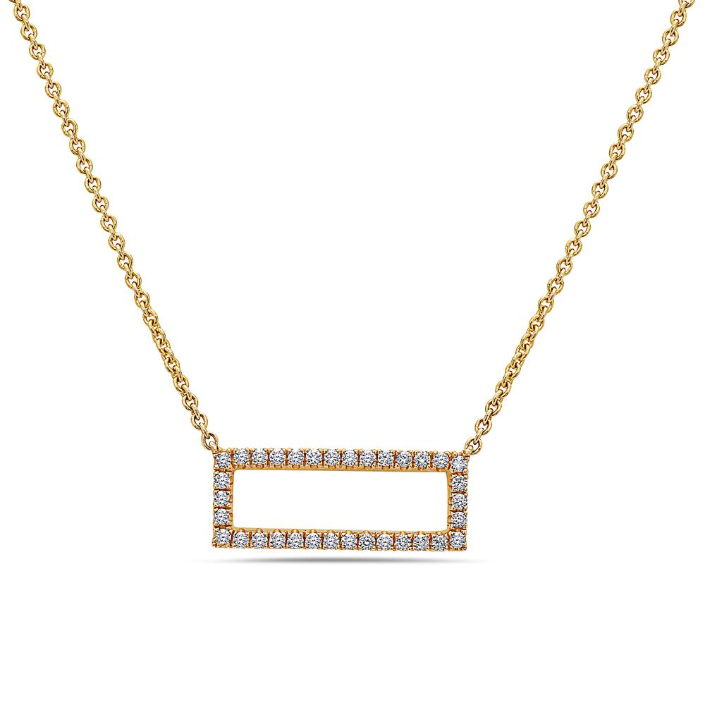 18K Yellow Gold Floating Rectangle Women's Necklace With 0.26 CT Diamonds