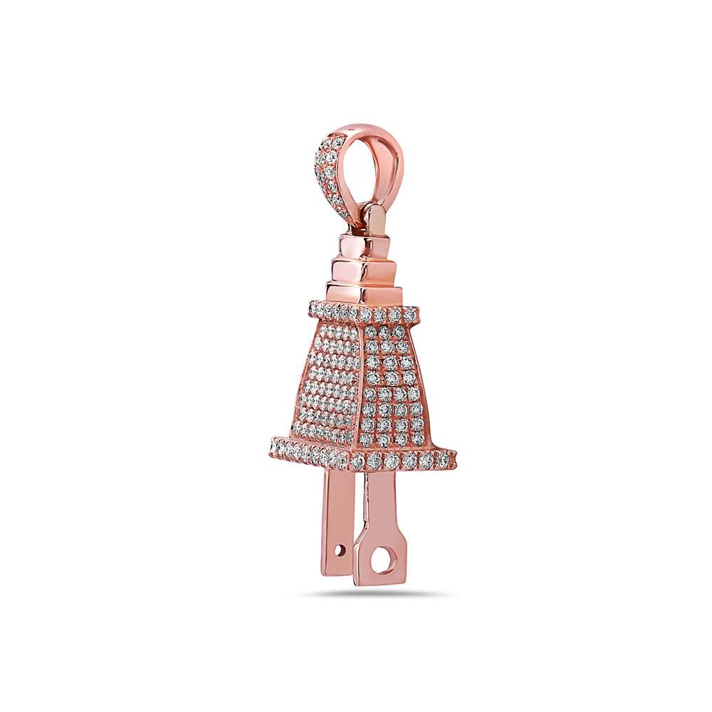14K Rose Gold Plug Shape Women's Pendant With 1.70 CT Diamonds