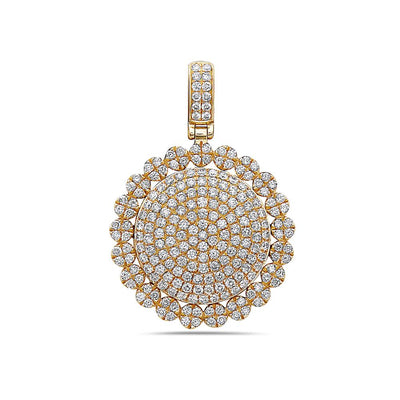 Men's 14K Yellow Gold Circle Pendant with 2.30 CT Diamonds