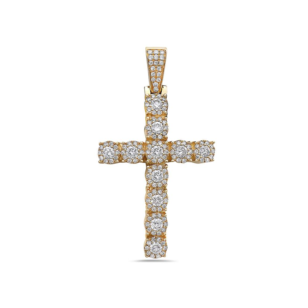 14K Yellow Gold Cross Pendant with 2.20 CT Diamonds