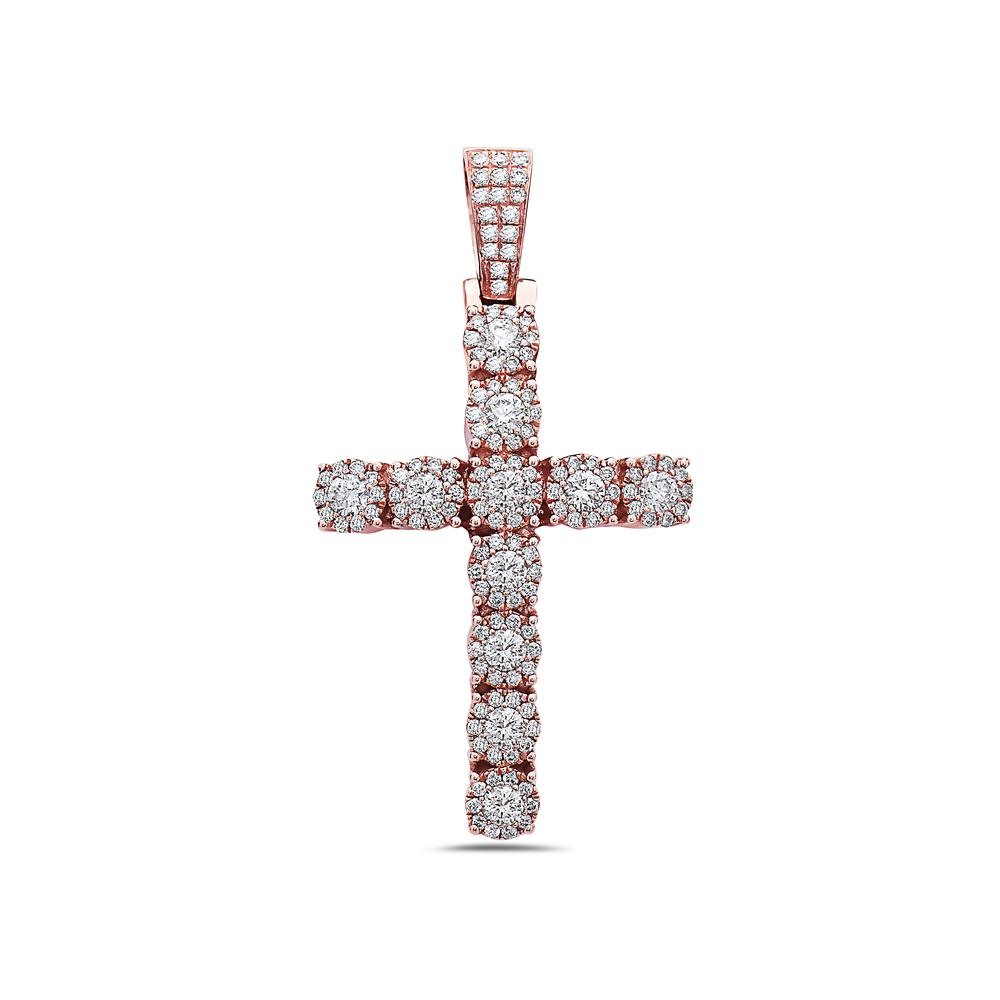 Unisex 14K Rose Gold Cross Pendant with 2.20 CT Diamonds