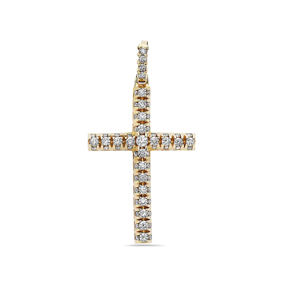 14K Yellow Gold Cross Pendant with 5.70 CT Diamonds