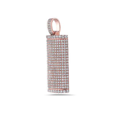 Unisex 14K Rose Gold Dog Tag Pendant with 6.73 CT Diamonds