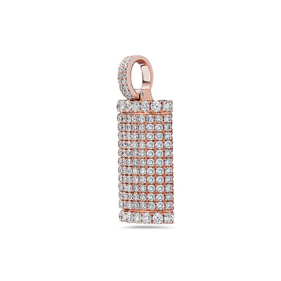 14K Rose Gold Solid Bar Unisex Pendant With 2.47 CT Diamonds