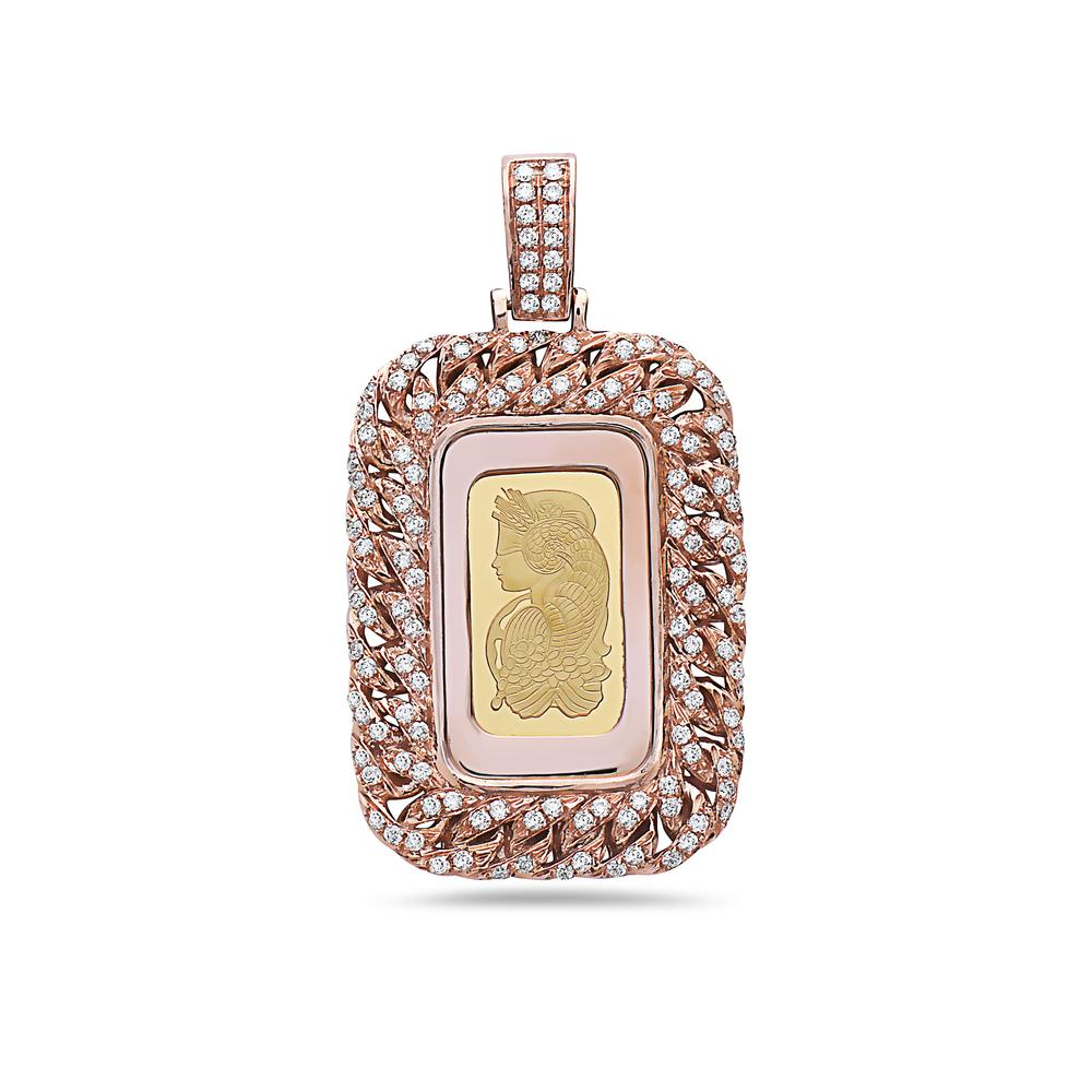 14K Rose Gold Curb Link Fortuna Pendant with 1.25 CT Diamonds