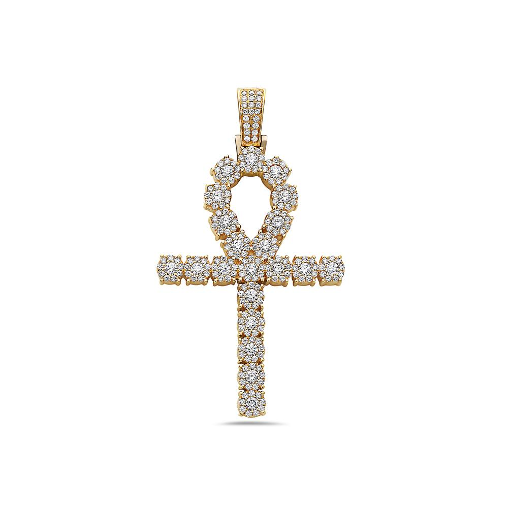 Unisex 14K Yellow Gold Pendant with 4.10 CT Diamonds