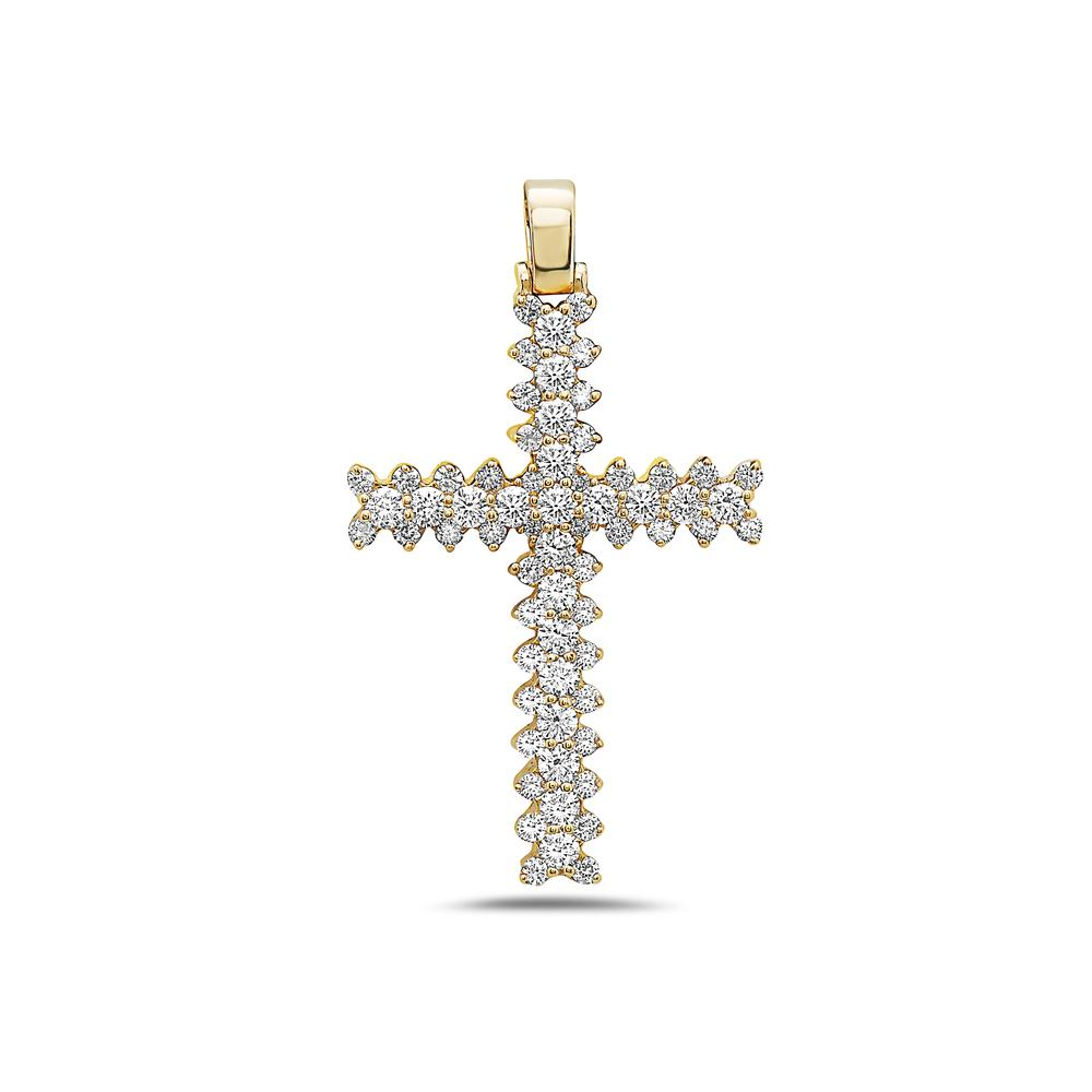 14K Yellow Gold Cross Pendant with 2.42 CT Diamonds