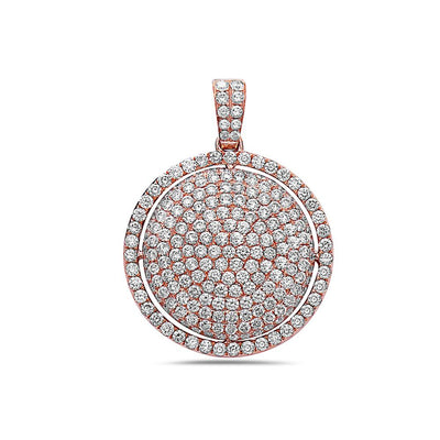 14K Rose Gold Circle Pendant with 3.37 CT Diamonds