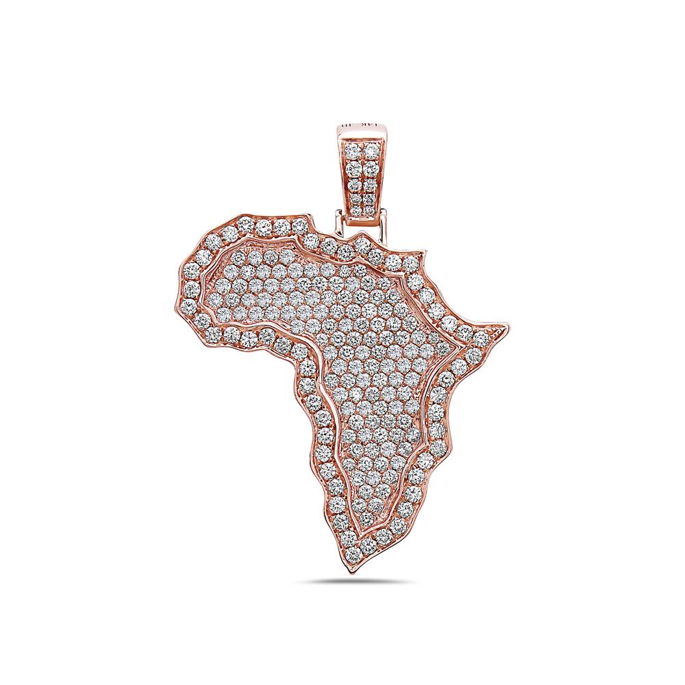 14K Rose Gold Africa Pendant with 3.01 CT Diamonds