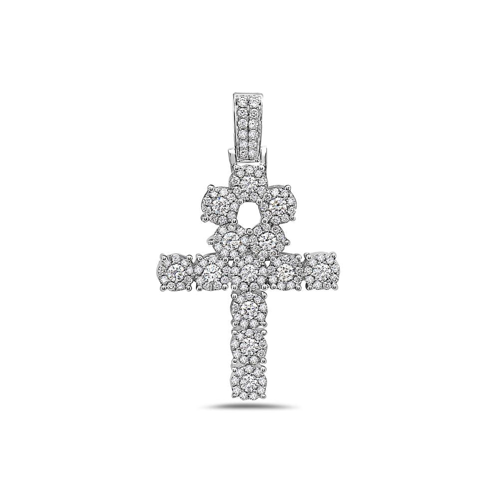 Men's 14K White Gold Ankh Pendant with 1.85 CT Diamonds