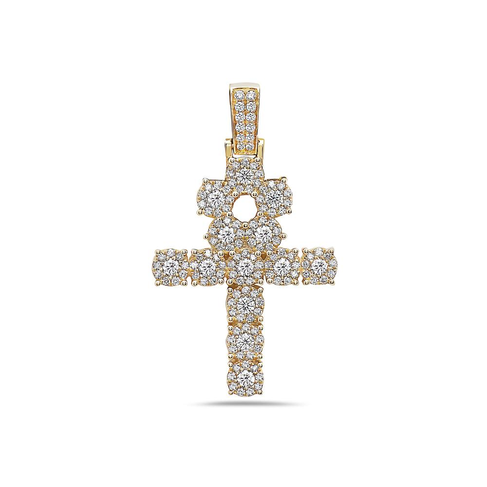 Men's 14K Yellow Gold Ankh Pendant with 1.85 CT Diamonds