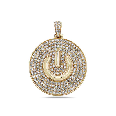 Men's 14K Yellow Gold Power Button Pendant with 3.70 CT Diamonds