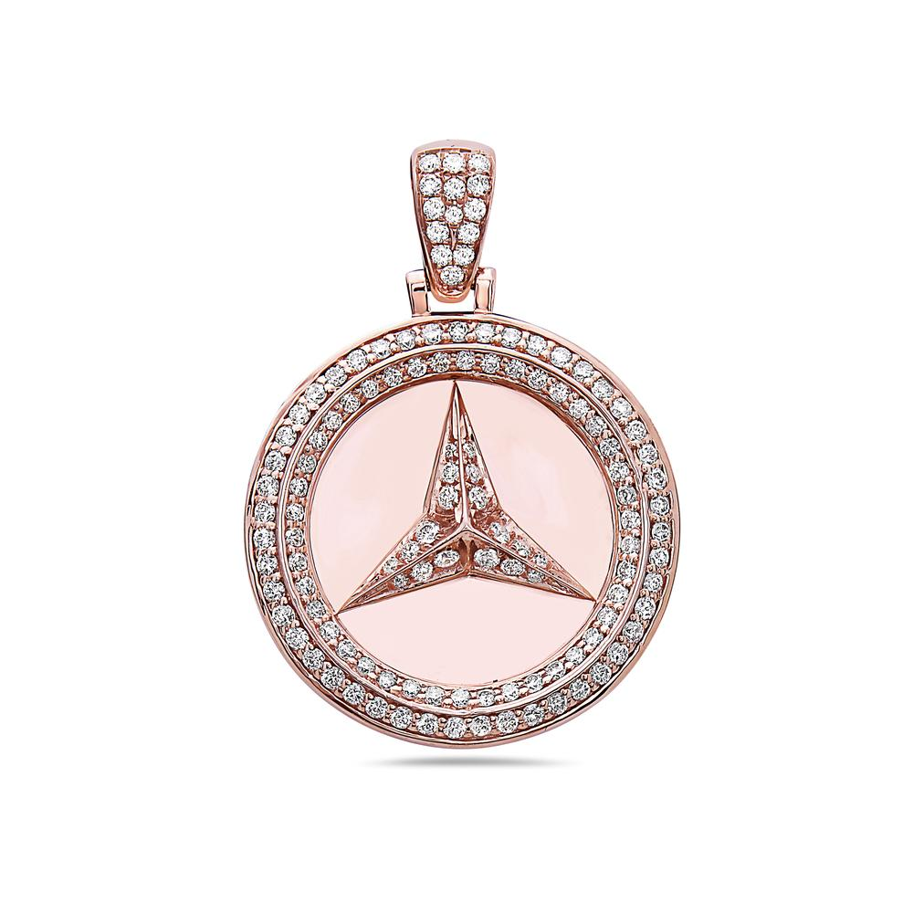 Unisex 14K Rose Gold Mercedes Pendant with 1.31 CT Diamonds