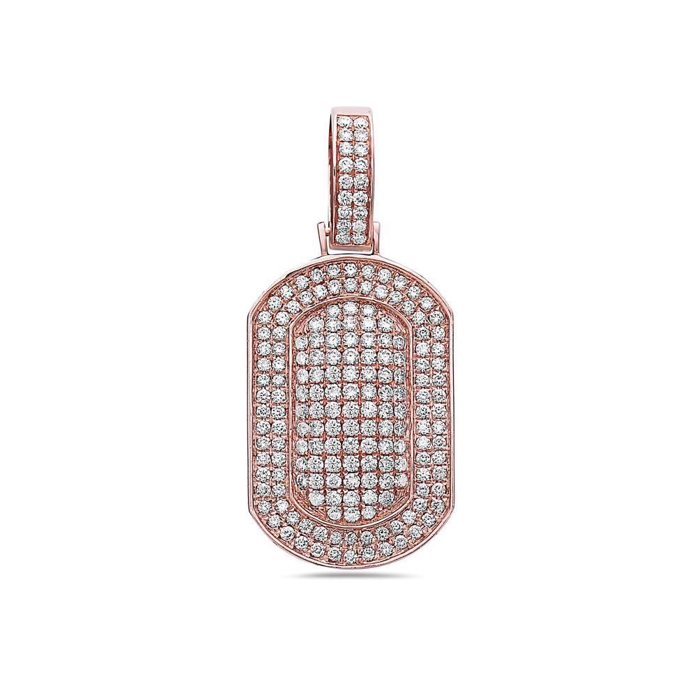 14K Rose Gold Dog Tag Pendant with 2.40 CT Diamonds