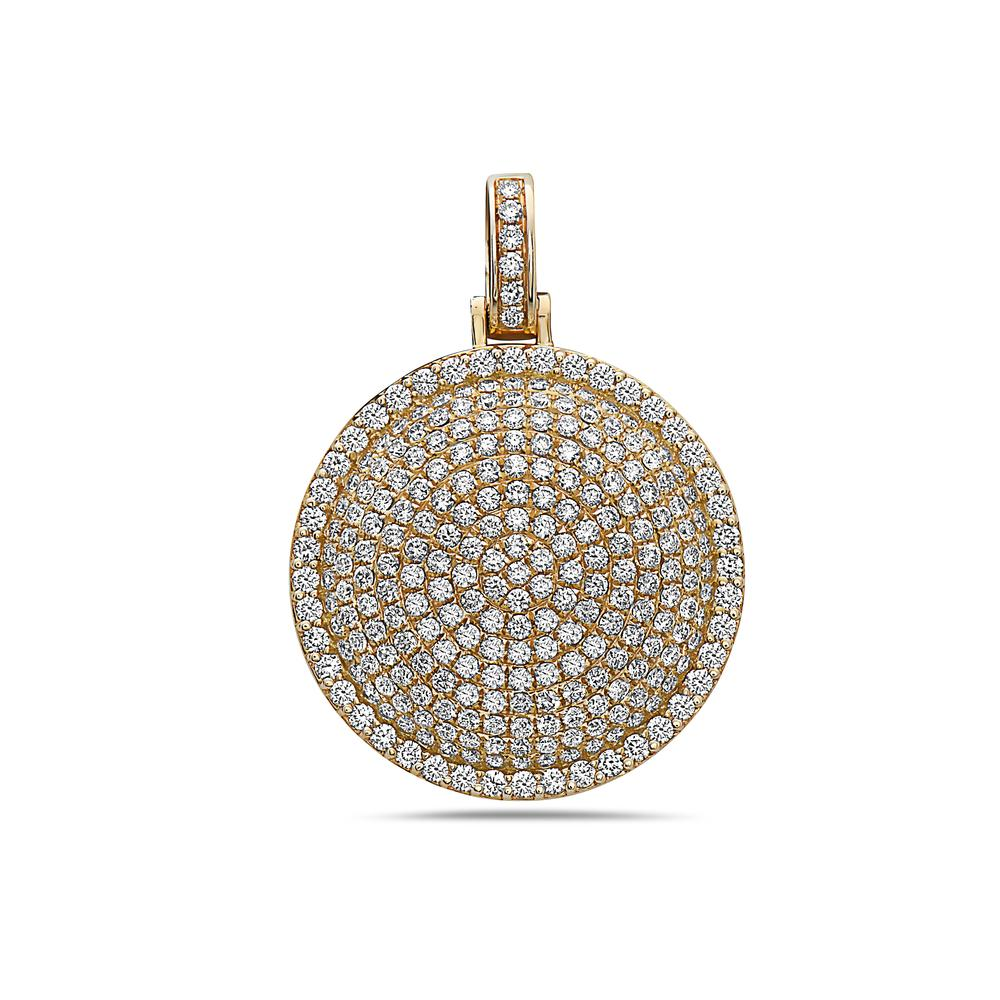 Men's 14K Yellow Gold Circle Pendant with 3.71 CT Diamonds