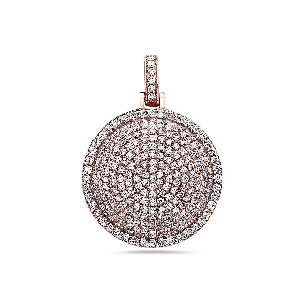 14K Rose Gold Circle Pendant with 3.71 CT Diamonds