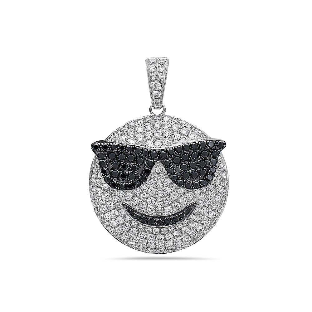 Men's 14K White Gold Sunglasses Emoji Pendant with 2.85 CT Diamonds