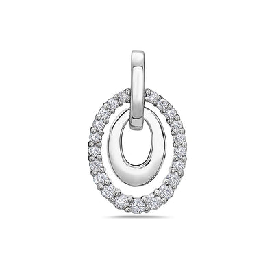 Double Oval Lines Pendant With 0.40 CT Diamonds available in Rose & White Gold